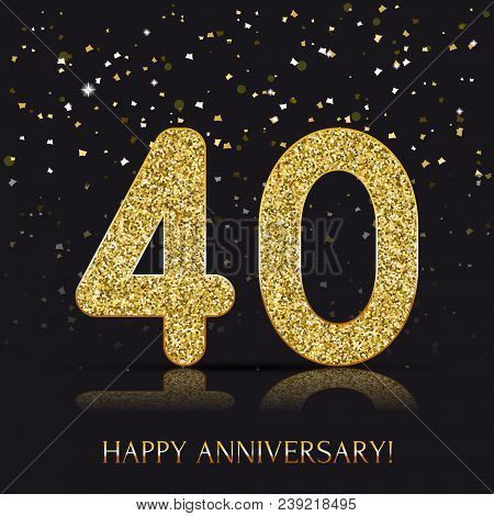 40 Years Happy Anniversary Banner With Gold Elements. Vector Illustration.
