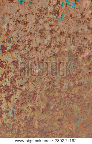 Obsolete grunge metal background texture with cyan paint leftovers poster
