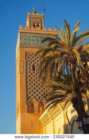 Koutoubia Mosque In The Southwest Medina Quarter Of Marrakesh. Blue, Kutubiyah.