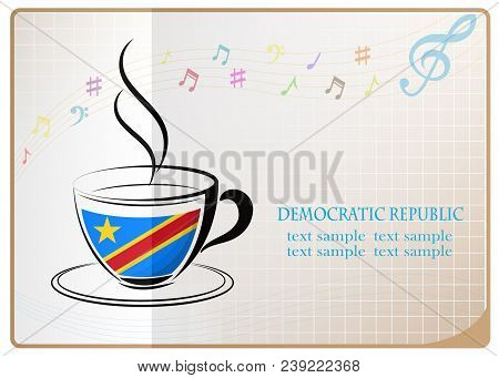 Coffee Logo Made From The Flag Of Democratic Republic