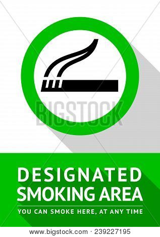 Smoking Place New Poster, Vector Illustration For Print