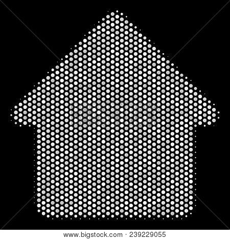 Dotted White Cabin Icon On A Black Background. Vector Halftone Pattern Of Cabin Pictogram Created Wi