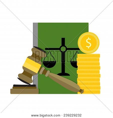 Corrupt And Bribery Judge And Judgment. Decision For Money. Vector Illustration