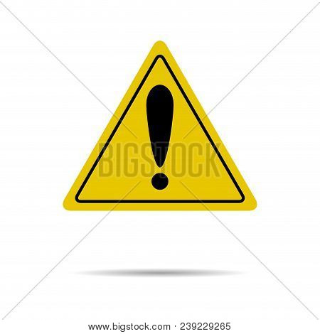 Sign Of Attention And Exclamation In Yellow Triangle. Attention Safety Road, Risk And Caution, Alert
