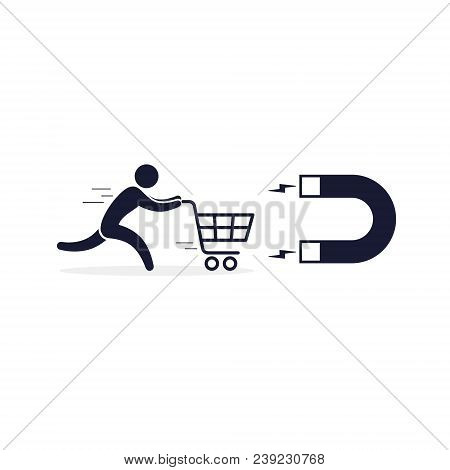 Magnet Attract Customers Icon. Vector Business Conept Illustration.