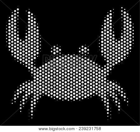Pixel White Crab Icon On A Black Background. Vector Halftone Composition Of Crab Icon Created With S