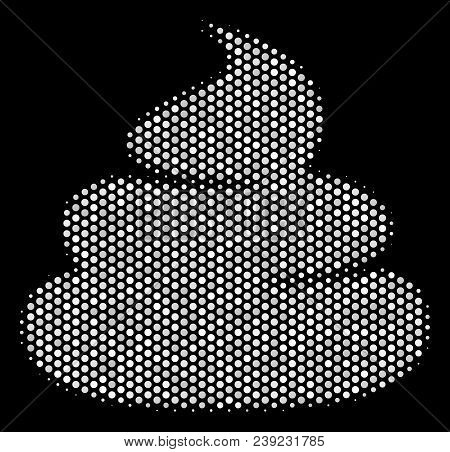 Dotted White Crap Icon On A Black Background. Vector Halftone Collage Of Crap Symbol Constructed Fro