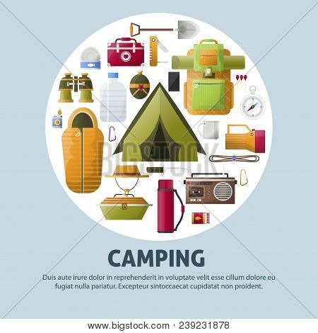 Summer Camp Poster For Scout Camping And Hiking Adventure. Vector Camp Tent, Binoculars Or Radio And
