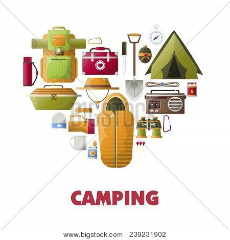 Camping Icons Heart For Summer Camp Club Poster. Vector Camping Tools For Mountaineering And Scout T