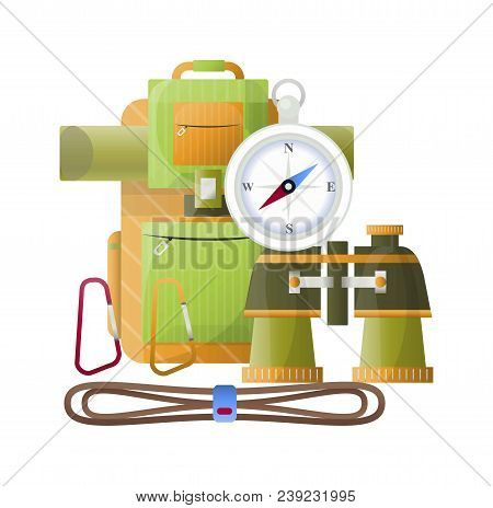 Camping Backpack, Compass And Binoculars Icons For Hiking Camp And Mountaineering Tools. Vector Flat
