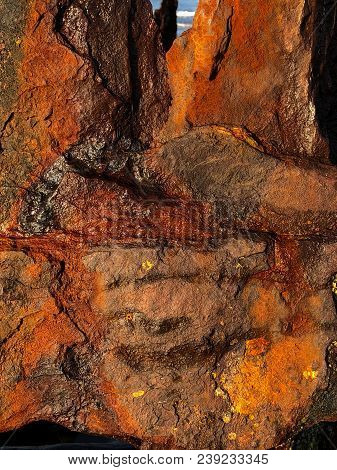 Closeup Of The Rust And Corroded Iron Of A Shipwrecked 1906 Sailing Ship