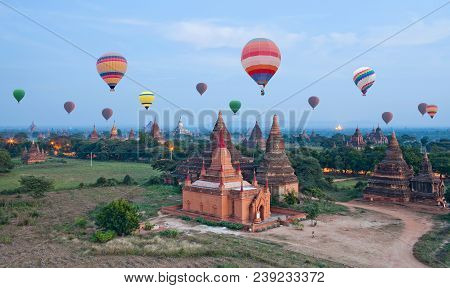 Colorful Hot Air Balloons Flying Over Bagan, Mandalay Division, Myanmar