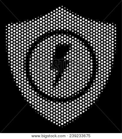 Dot White Electric Guard Icon On A Black Background. Vector Halftone Collage Of Electric Guard Icon