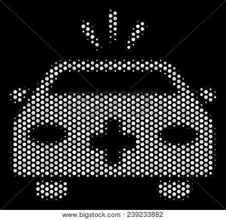 Dotted White Emergency Car Icon On A Black Background. Vector Halftone Mosaic Of Emergency Car Symbo