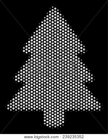 Pixelated White Fir-tree Icon On A Black Background. Vector Halftone Mosaic Of Fir-tree Symbol Made