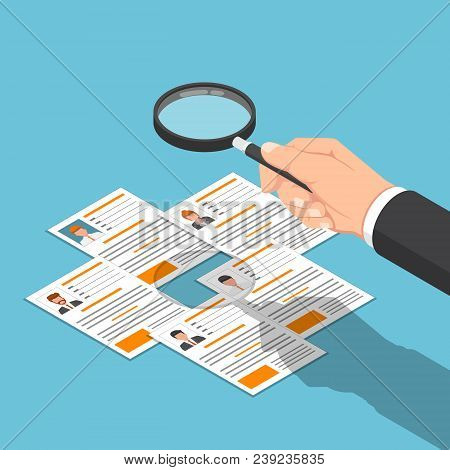 Isometric Businessman Hand Viewing Resume With Magnifying Glass.
