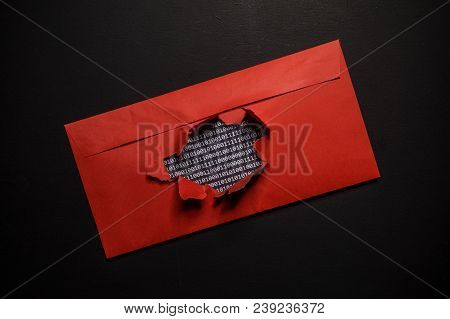 Hacking Of Encrypted Data And Intrusion Into Privacy On The Internet. The Envelope With The Binary C