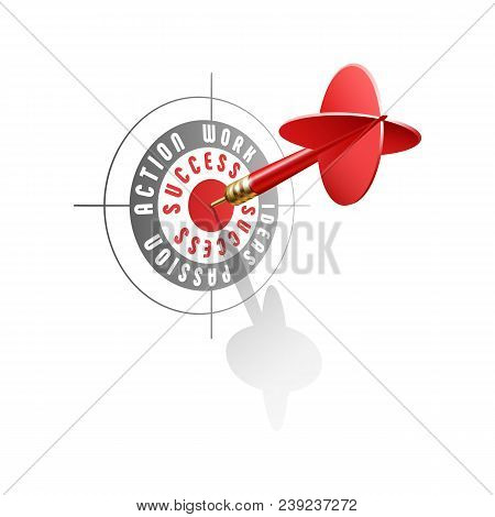Success Concept. Red Dart Hitting Center Of Business Target. Vector Illustration Isolated On White B