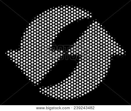 Pixel White Refresh Icon On A Black Background. Vector Halftone Concept Of Refresh Symbol Combined F