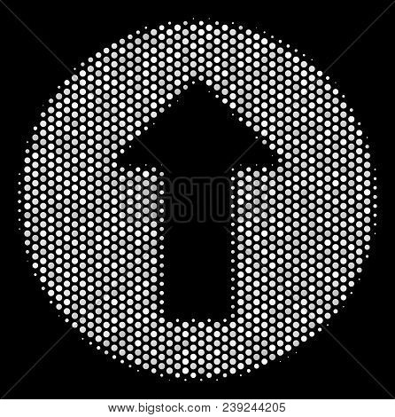 Pixelated White Rounded Arrow Icon On A Black Background. Vector Halftone Composition Of Rounded Arr