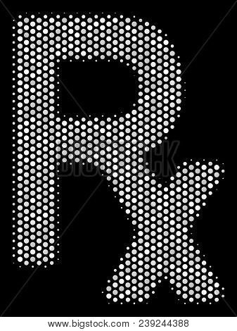 Pixel White Rx Symbol Icon On A Black Background. Vector Halftone Mosaic Of Rx Symbol Icon Construct