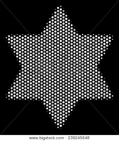 Dot White Six Pointed Star Icon On A Black Background. Vector Halftone Collage Of Six Pointed Star I