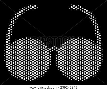 Dotted White Spectacles Icon On A Black Background. Vector Halftone Pattern Of Spectacles Icon Forme