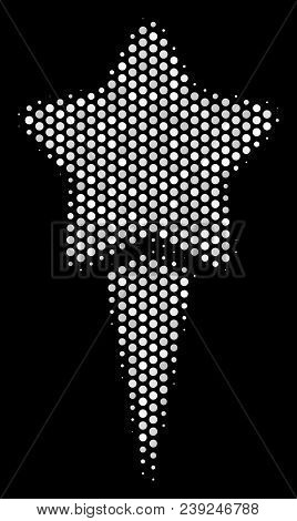 Dotted White Starting Star Icon On A Black Background. Vector Halftone Collage Of Starting Star Icon