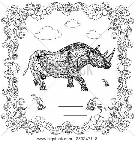 Zentangle Style Monochrome Sketch Rhinoceros In Floral Frame, Coloring Page Antistress Stock Vector