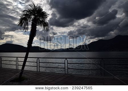 View Of The Lakefront Of  Iseo On A Stormy Day 014