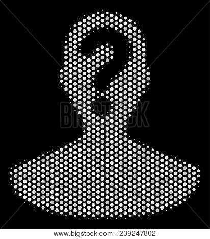 Dot White Unknown Person Icon On A Black Background. Vector Halftone Collage Of Unknown Person Symbo