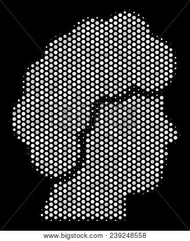 Pixelated White Woman Profile Icon On A Black Background. Vector Halftone Composition Of Woman Profi