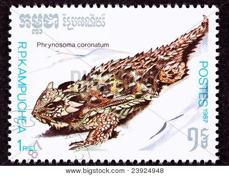 Canceled Cambodian Postage Stamp Spiney Coast Horned Lizard, Phrynosoma Coronatum,