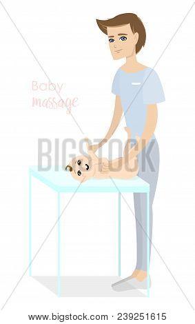 Baby Massage For Children. Flat Isolated Vector Illustration. Brunette Masseur In Blue Uniform Doing