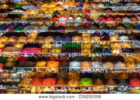 BANGKOK, THAILAND - MARCH 16, 2018 : The colorful Rod Fai Ratchada night market in Bangkok, Thailand