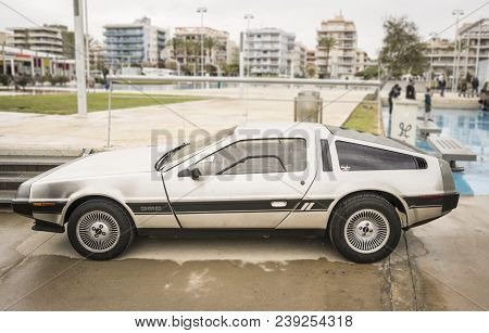 Calafell, Spain, May 2018: Delorean In Riverside Classic Car Show. Delorean Dmc-12 Car From 1980s Mo