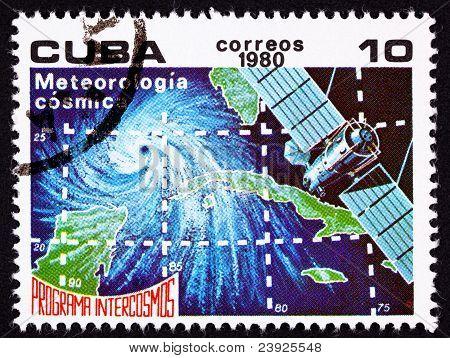 Canceled Cuban Postage Stamp Weather Satellite Meteorology Cuba Hurricane Ocean
