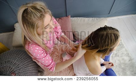 Friendship Bff. Fun Leisure. Girls Hair Braiding Time. Best Mates Communication Trust Closeness