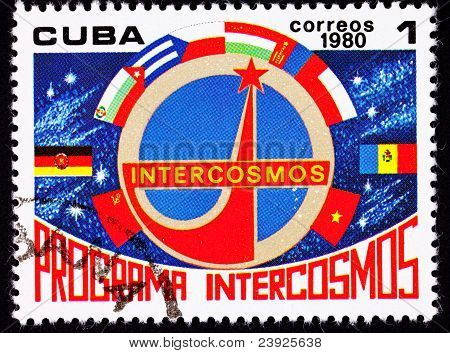 Cuban Postage Stamp Country Flags Communist Block Intercosmos Space Program