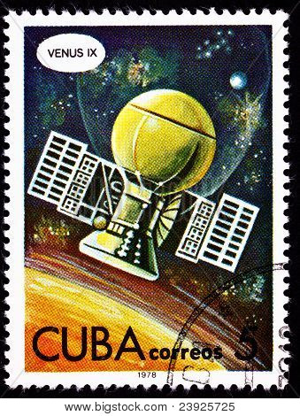 Cuban Postage Stamp Soviet Venera 9 Space Probe Planet Venus