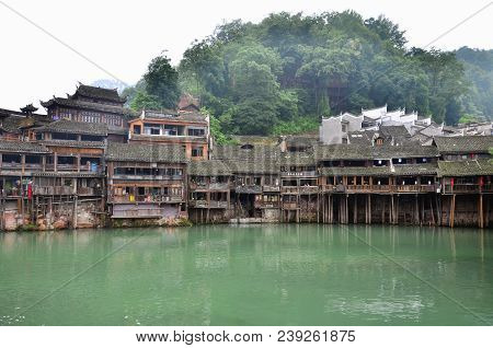 Hunan, China - June 16, 2014 : Old Houses In Fenghuang County In Hunan, China. The Ancient Town Of F