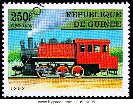 Canceled Guinea Train Postage Stamp Old Railroad Steam Engine Locomotive