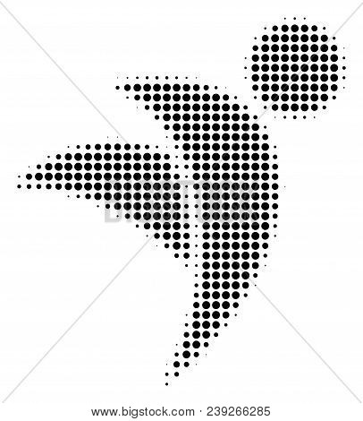 Dotted Black Winged Man Icon. Vector Halftone Collage Of Winged Man Icon Made With Circle Items.