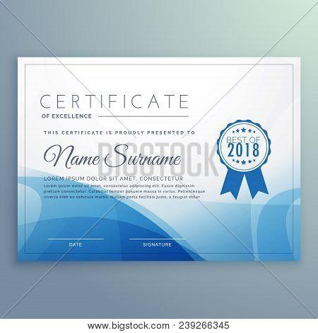 Blue Diploma Certificate Template Vector Design Illustration
