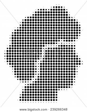 Pixel Black Woman Profile Icon. Vector Halftone Composition Of Woman Profile Pictogram Created With