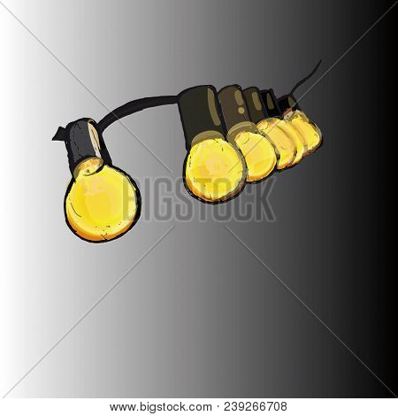 Several Artificial Yellow Lights Included, Draw In Vector