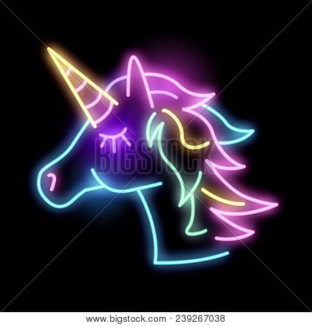 Cute Glowing Neon Unicorn Light Sign. Layered Vector Illustration.