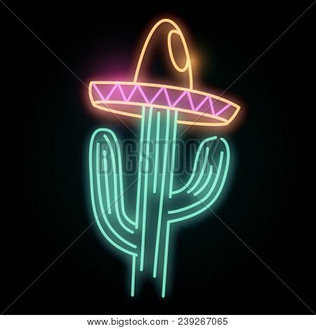 A Neon Glowing Light In The Shape Of A Cactus Plant Wearing A Hat. Vector Illustration.