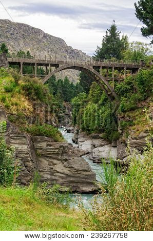 Edith Cavell Bridge Over The Shotover River - Queenstown, New Zealand
