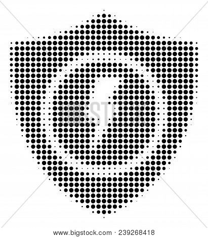 Pixelated Black Electric Guard Icon. Vector Halftone Collage Of Electric Guard Pictogram Created Wit